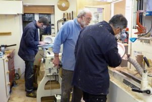 Steve teaching woodturning in his workshop