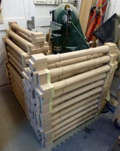 Oak spindles completed - 78 in total - there is a VB36 lathe in there somewhere!
