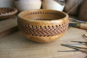 Latest project - Cherry bowl with leather laced band