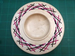 Sycamore platter with pink, white and black laced rim